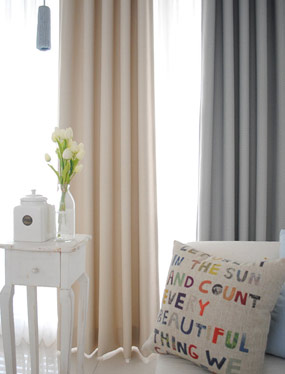지그재그 암막커튼 (베이지&블루)디자인누비