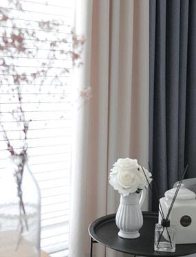 바이엘 암막커튼 (연베이지&사파이어블루)디자인누비