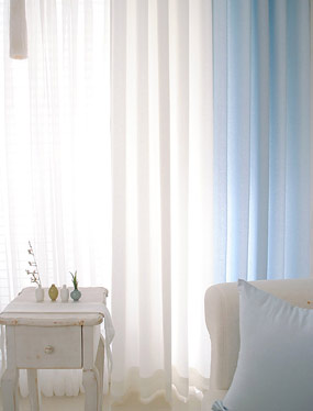러스틱커튼 (화이트&블루)디자인누비