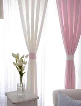 러스틱커튼 (화이트&핑크)디자인누비