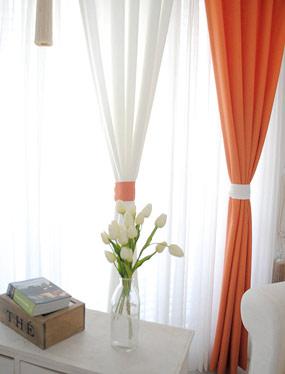 러스틱커튼 (화이트&오렌지)디자인누비
