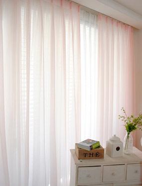 [나비주름] 심플리츠 핑크 커튼디자인누비