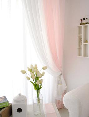 소프트 화이트&핑크 커튼디자인누비