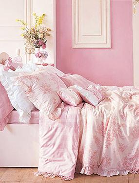뉴에꼴 핑크 침구디자인누비