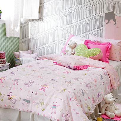 럽베베 핑크 어린이침구디자인누비